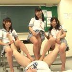 【集団逆レイプ】痴女Jkたちが教師のチンポを足コキに太ももコキで射精させてからの金蹴り(早川瑞希,白桃心奈,七海ゆあ)