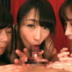 【ハーレムフェラ抜き】3人でチンポをペロペロ舐めて激しいジュボフェラ(神納花(管野しずか),岬あずさ,葉月桃)
