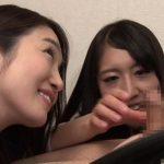 【ハーレム責め】ビデオチャットで彼女と会話中にフェラで責める痴女たち(江波りゅう,大崎美佳)